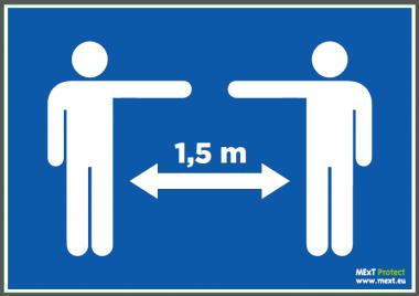 Muursticker A4 personen Covid-19 1,5m (6 stuks)