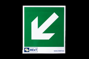 Signalisatie sticker vinyl - pijl schuin onder links